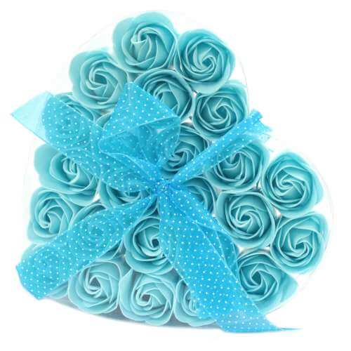 set of 24 soap flowers - blue roses