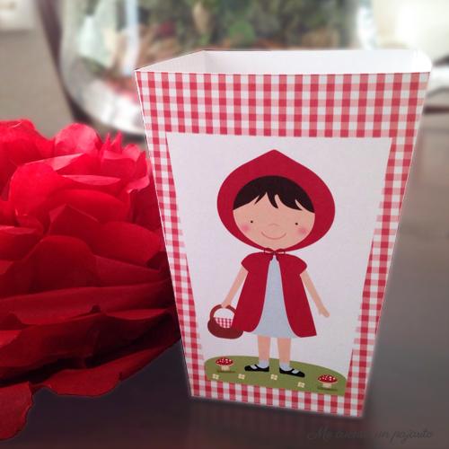 Kit cumpleaños Caperucita Roja, caja para palomitas