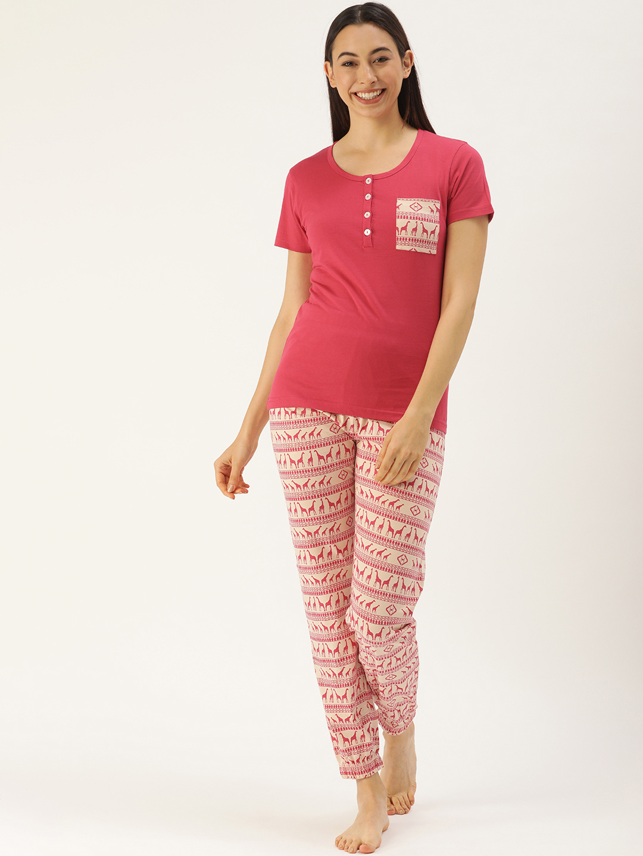 Slumber Jilll Aztec Animal Magenta Pyjama set-FS-123XXL