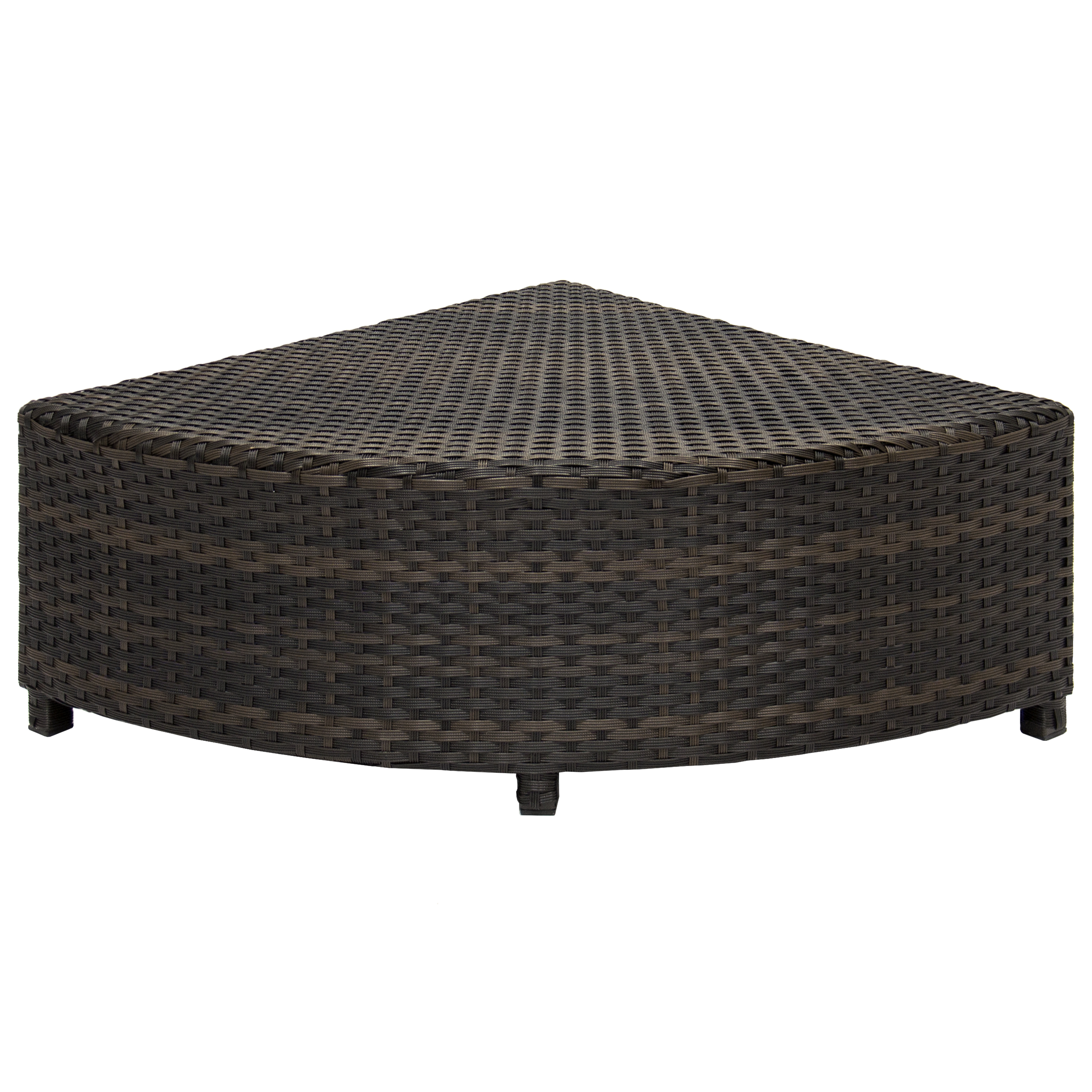 Brown Rattan Coffee Table Outdoor: Patio Furniture 6-Piece Wicker Sectional Sofa Set W