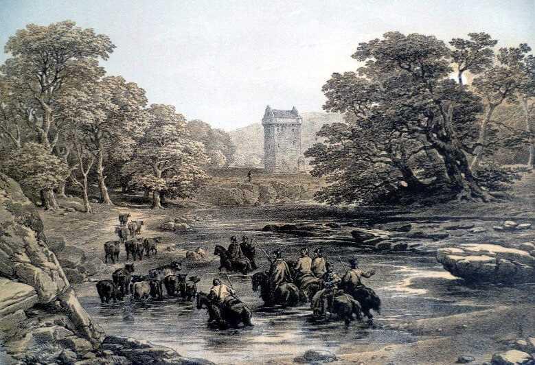 Рейверы гонят украденный скот к башне Gilnockie
