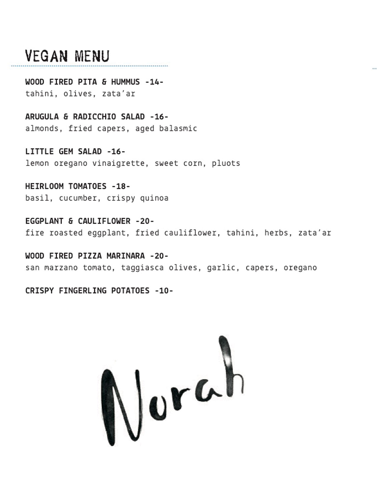 Norah Vegan Dinner Menu