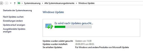 Beispiel für den Abruf von Updates in Windows 8