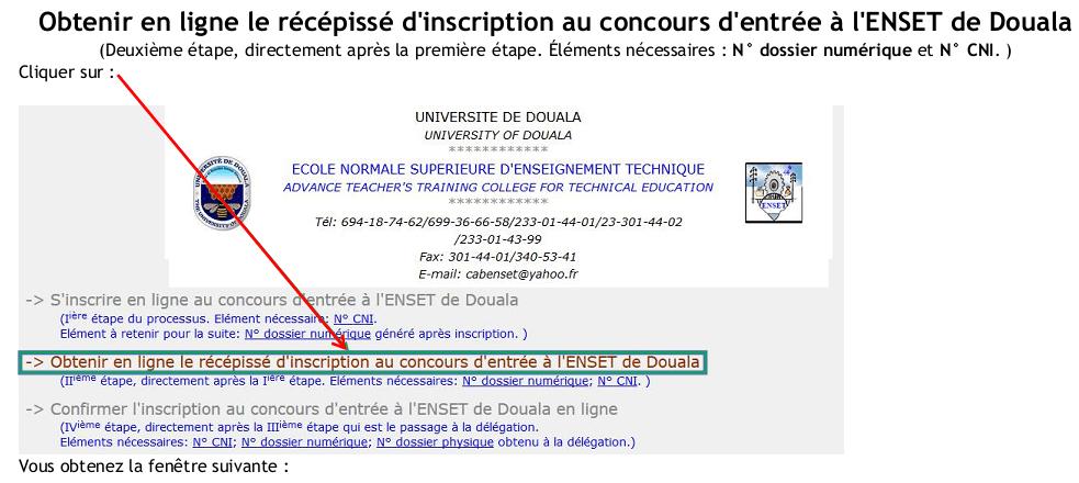 ENSET Douala Procedure d'inscription en ligne Concours ENSET Douala Université de Douala