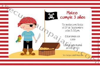Invitación de cumpleaños del pirata