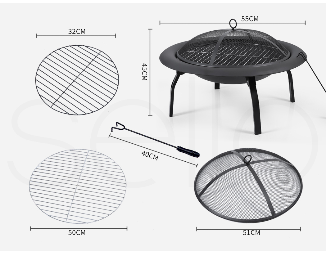 """thumbnail 20 - 22"""" 30"""" Fire Pit BBQ Grill Pits Outdoor Portable Fireplace Garden Patio Heater"""