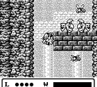 Firebrand clings to a wall in Majorita's Cave, avoiding two Schildgeists and a pair of Dreadwings.