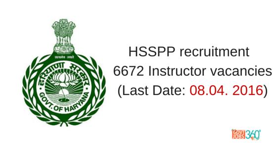 HSSPP recruitment 2016 notification 6672 Instructor vacancies