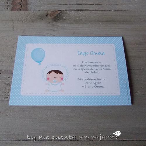 Recordatorio personalizado del bautizo de Iñigo bebe con globo