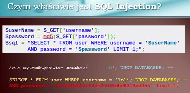 Przykład ataku sql injection w PHP i drop databases.
