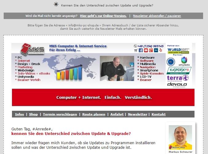 Mit einem Newsletter kann man Kunden und Interessenten gezielt informieren.