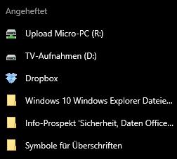 Gepinnte Ordner beim Windows Explorer