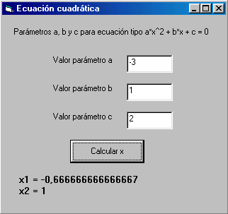 ecuacion cuadratica visual basic