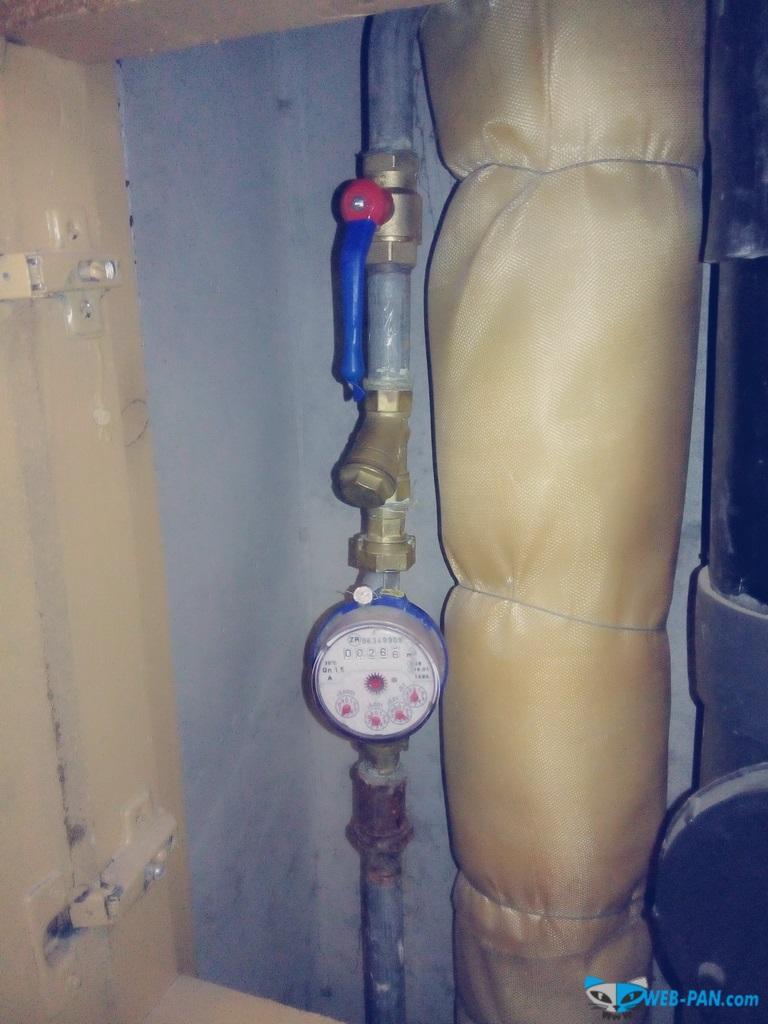 Холодная вода, кран в термоусадке!