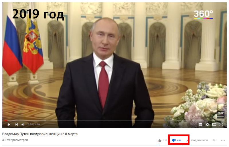 Путину опять накидали дизлайков и послали куда подальше