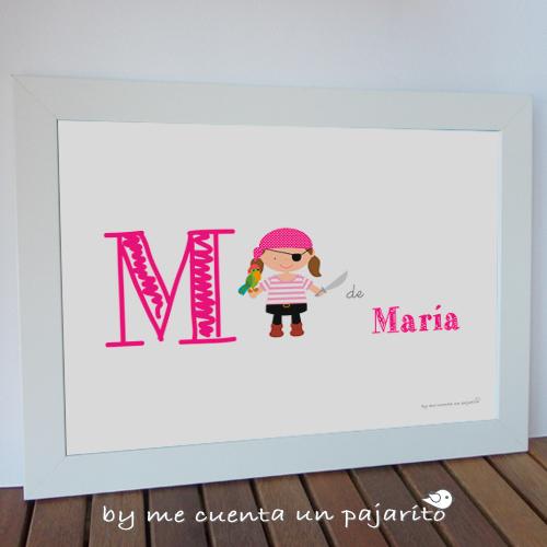 Lámina de la pirata niña y el loro personalizada con el nombre de la niña