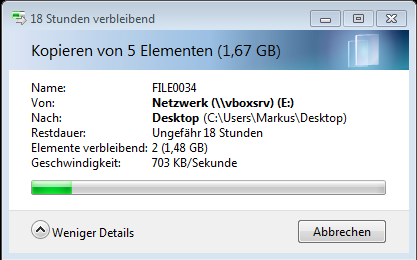 Status-Anzeige beim Kopieren von Dateien in Windows 7 - der Vorgang dauert mehrere Stunden