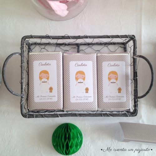 Chocolatinas de Primera Comunión personalizadas niña, niño, chocolate