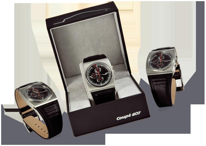 La montre Peugeot coupé 407, massive à l'image de la lionne. Cliquez pour afficher en HD