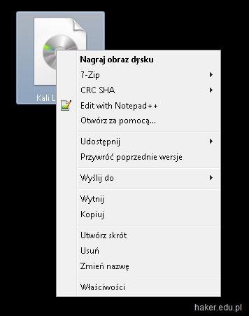 Nagrywanie obrazu ISO Kali Linux na płytę CD / DVD w Windows.