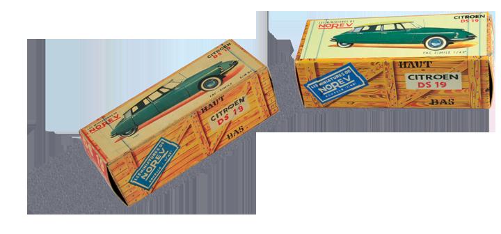 Une boîte Norev patinée de la fin des années 50 face à sa reproduction un demi-siècle plus tard. Cliquez pour afficher en HD