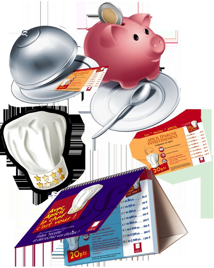 Visuels illustrant le jeu basé sur le concept de recettes de cuisine.