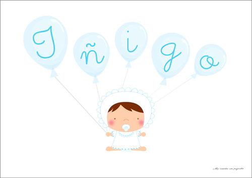 Lámina de bebe con globos niño