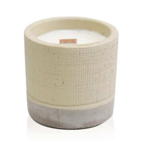 soy wax pot concrete candle - coffee