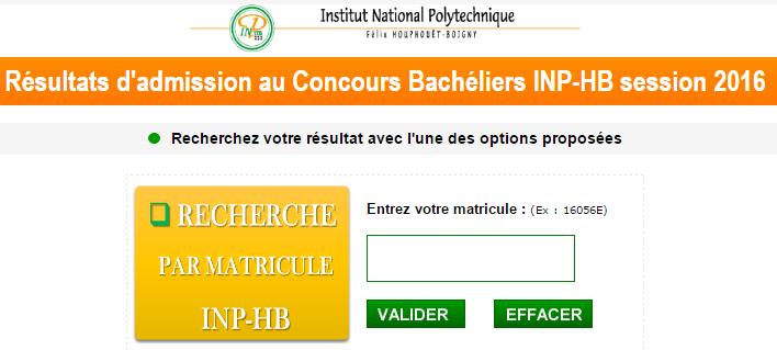 Resultats concours INPHB Bacheliers 2016-2017: ci session 2016 Côte d'ivoire www.inphb.edu.ci