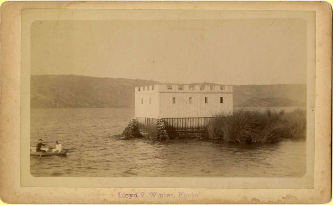 For sale: Original 1890's cabinet card                           photograph of a huge duck blind made to look                           like a castle, somewhere in the Juneau area.