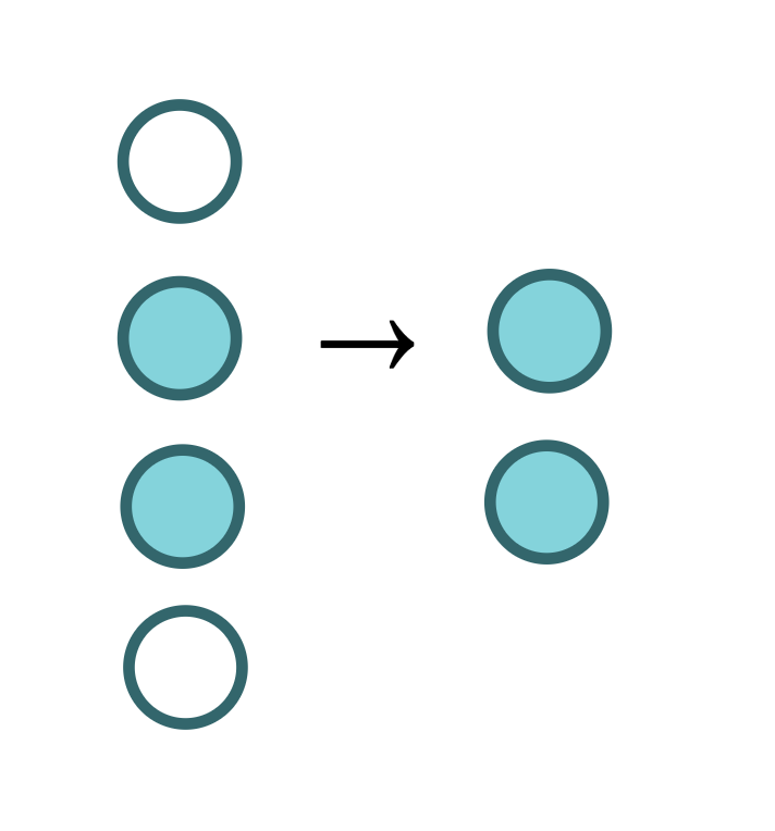 a series of blue circles, some with fill colors, transformed into only the circles with fill colors