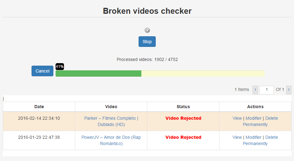 Broken videos checker