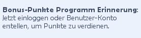 Übersetzte Aufforderung, sich für das Bonus-Punkte Programm anzumelden