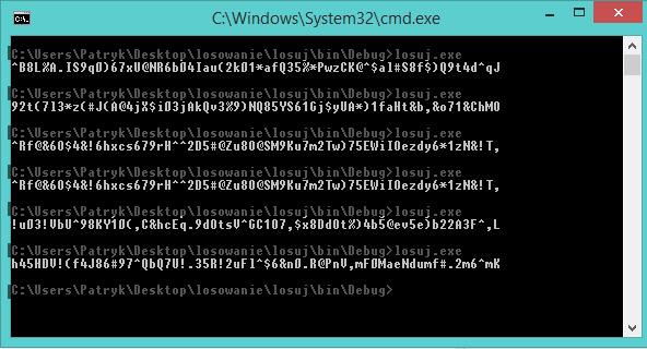 wygenerowane 64 bitowe stringi