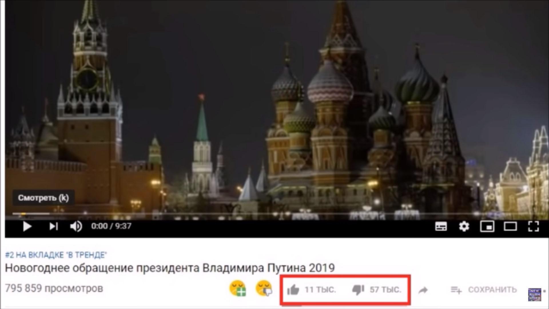 Новогоднее обращение Путина — 75 тыс. дизлайков