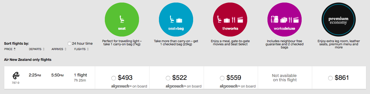 Air NZ Pricing Structure