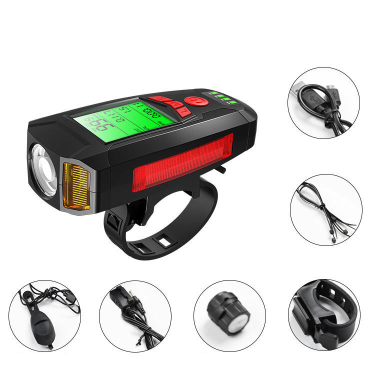 4 in1 Rechargeable LED Bicycle Headlight Bike Head Light Alarm Bell Phone Holder