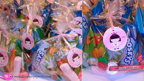 Cumpleaños de la princesa Uma, Etiquetas de cumpleaños, bolsas de chuches