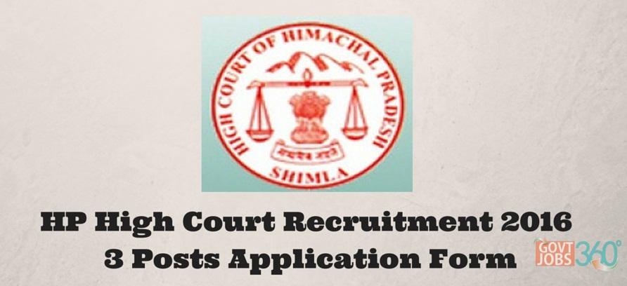 HP High Court Recruitment 2016 Peons 3 Posts Application Form