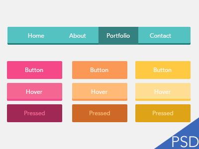 PSD - UI Flat Buttons