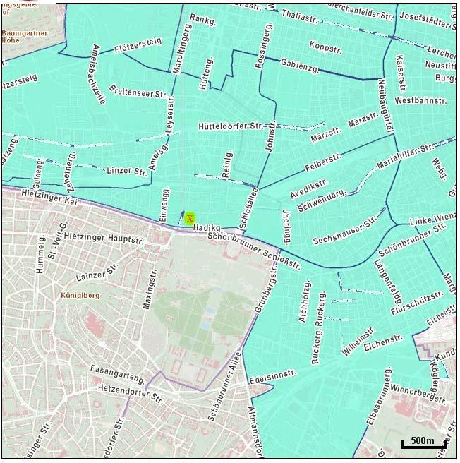 Parkzone türkis markiert, ausserhalb ist Parken gebührenfrei, Wohnung bei rotem X