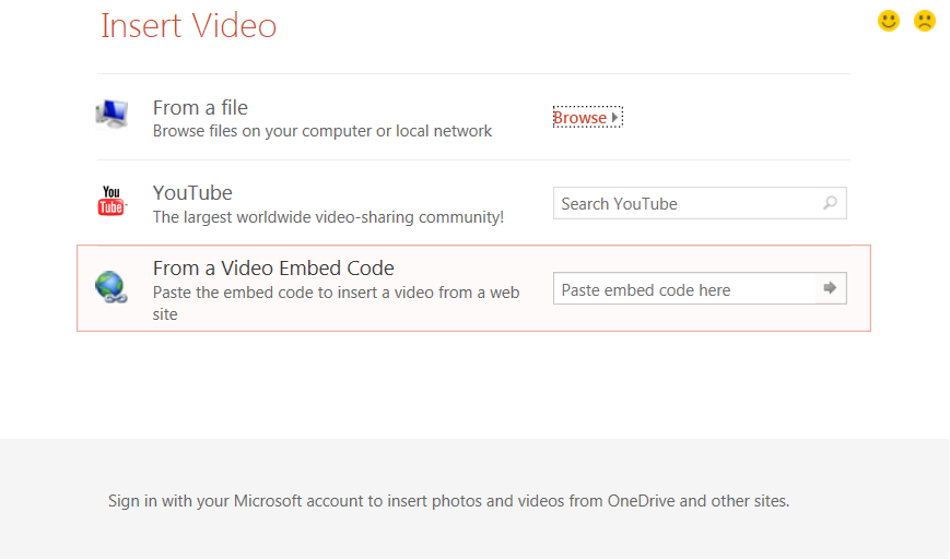 embed video into powerpoint - video types