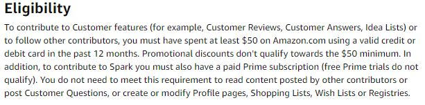 Amazon review eligibility