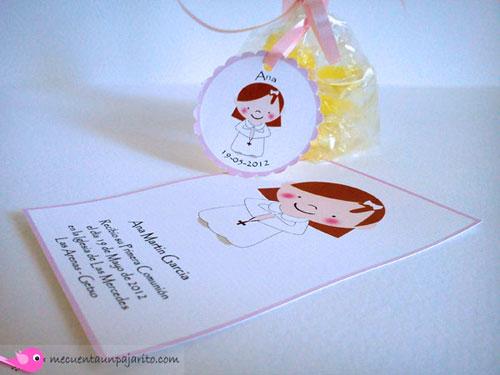 Recordatorio de primera comunión niña, etiquetas