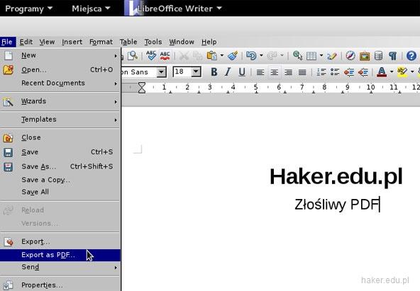 Eksportowanie i generowanie pliku PDF w systemie operacyjnym Linux.
