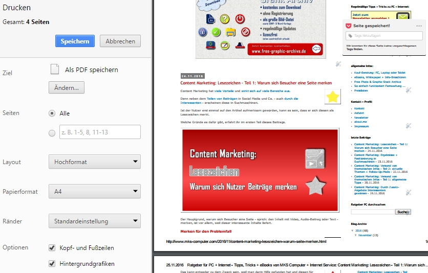 PDF Druck-Funktion im Browser Google Chrome