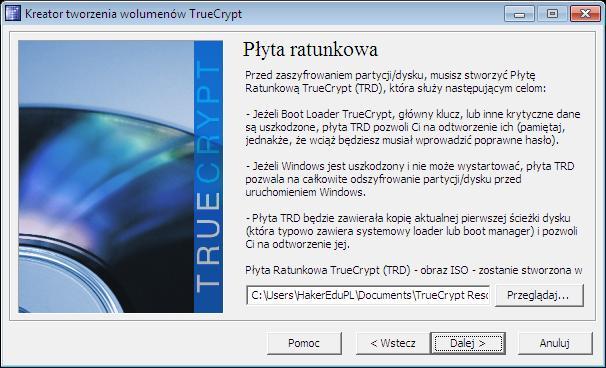 TrueCrypt Rescue Disk - tworzenie płyty ratunkowej