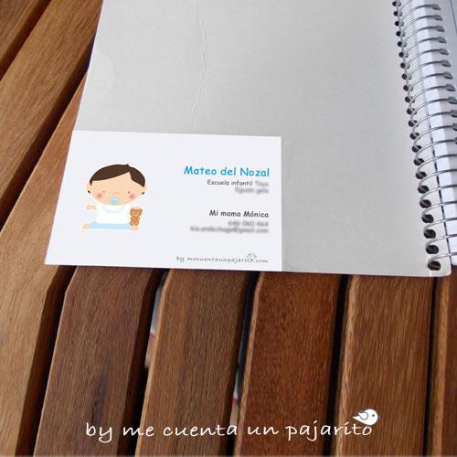 Etiqueta de bebe, pegatina bebe cuaderno, con los datos del bebe y la mamá