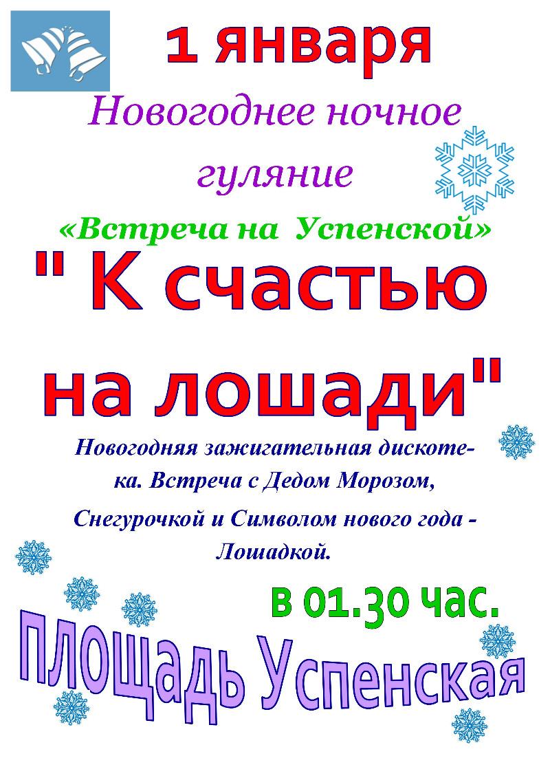 """Новогоднее ночное гуляние """"Встреча на Успенской"""""""