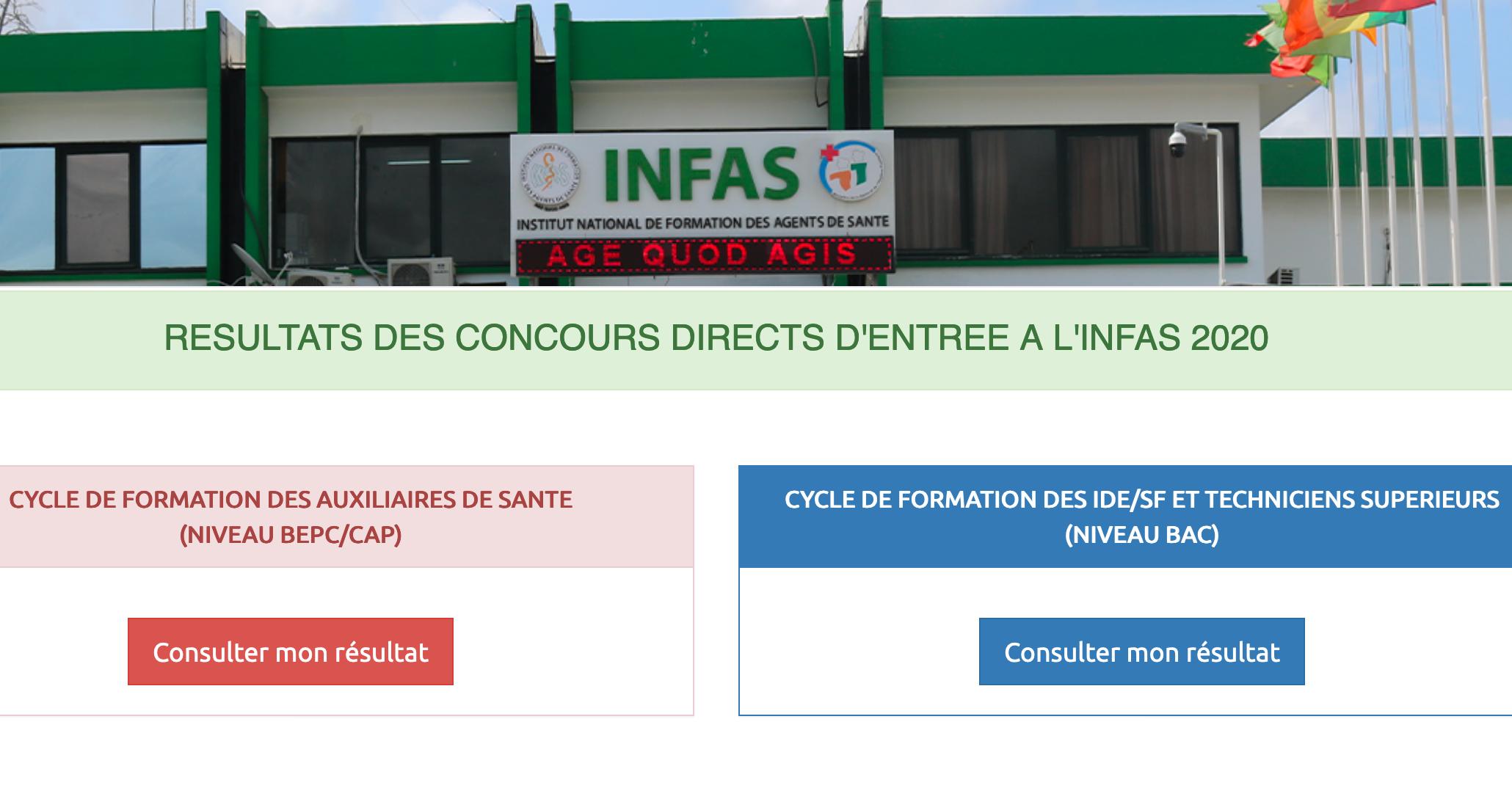Resultats définitifs INFAS session 2021 disponibles en ligne ci www.infas.ci 2021 cote d'ivoire.